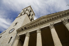Old Roman temple in the Tuscany town of Assisi Stock Photos