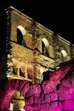 Old Roman theater by night Stock Images