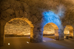 Old roman underground in the city of Aosta in italy Royalty Free Stock Photo