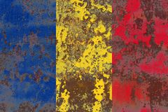 Old Romania grunge background flag.  Royalty Free Stock Photos