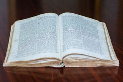 Old romanian Bible. Detailed view of a old Bible pages Royalty Free Stock Photo