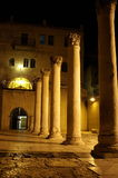 Old romanian columns in jerusalem. At night Stock Photography