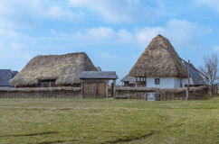 Old romanian house with hay roof Royalty Free Stock Images