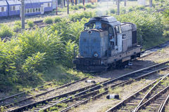 Old romanian locomotive in depot Stock Photography