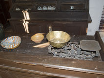 Old Romanian traditional inn at the Village Museum of Valcea County Stock Photo