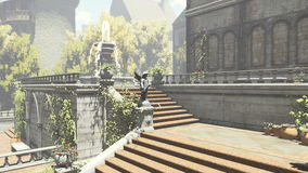 Old romantic mansion and courtyard with fountain stock video