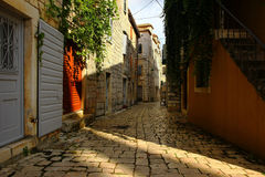 Old Romantic Street. Old Small Historical Stone Street stock image