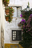 Old romantic window. In historic district in Obidos, Portugal Royalty Free Stock Photo