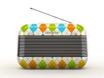Old rombus pattern vintage retro style radio receiver  o. N white background Royalty Free Stock Photography
