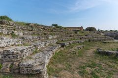 The old rome arena. Paestum, Italy, was a major ansient Greek city on the coast of the Tyrrhenian sea in Great Graecia stock photos