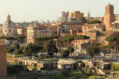 Old Rome at sunset. Old city center of Rome seen from the roman forum at sunset Stock Photography