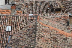 Old Roof. In Motovun Istria stock photo