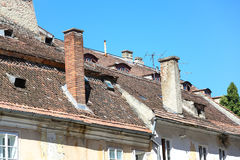 Old roof in Brasov, România. Black church in brasov, Transylvania, Romania Royalty Free Stock Image