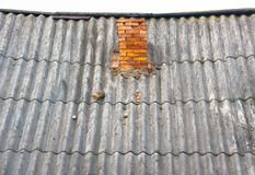 Old roof  with brick pipe Stock Photos