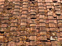 Old roof - broken tiles, house repair background Stock Image