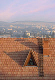 Old roof of a building. Against a modern city Royalty Free Stock Photos