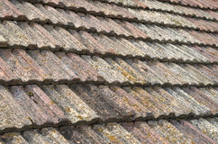 Old roof with ceramic tiles closeup Royalty Free Stock Photography