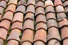 Old roof with colorful ceramic tiles Royalty Free Stock Image