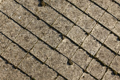 Old roof detail. Detailed old roof made from cement slabs Royalty Free Stock Image