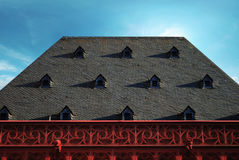 Old roof with dormers stock photo