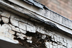 Old Roof Falling Apart. A roof rotting way and falling away, close view Royalty Free Stock Photography