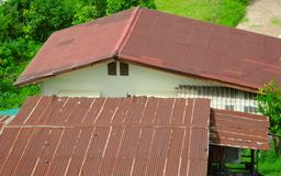 The old roof at  Khon Khaen Thailand. Old roof and the old home Stock Image