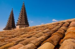 Old roof with pointy little towers Stock Photo