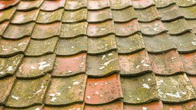 Old roof made of shingles stock photography