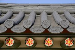 The old roof of a temple in Korea Stock Photos