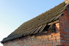 Old roof. Tile on building made from red brick and clay. Building is from 1904 first cover by thatch then in new days after wwII by this tile Royalty Free Stock Photos