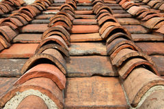 Old Roof Tiles. Narrow depth of field view of old roof tiles stock photo