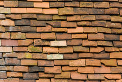 Old roof tiles. On roof Stock Image