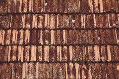 Old roof tiles background. Shingle Aged Background with Copyspac. E Stock Photography