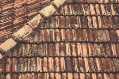 Old roof tiles background. Shingle Aged Background with Copyspac. E Stock Photo