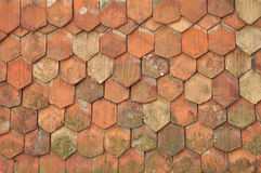 Old roof tiles. Background of old roof tiles, shingles Royalty Free Stock Image