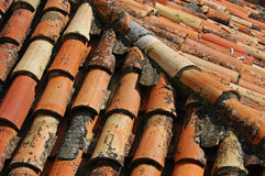 Old Roof Tiles - From Close. Old roof tiles with a some diagonal tiles royalty free stock photos