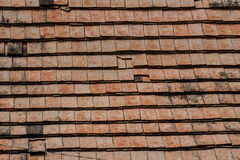 Old roof tiles made of terracotta Stock Photo