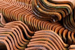 Old roofing tiles. Lots of old roofing tiles re-cycled Royalty Free Stock Photography