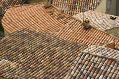 Old roofs in Aiguines Stock Photography