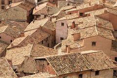 Old roofs of Albarracin, Aragon, Spain. Stock Photography