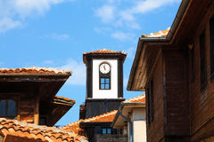 Old roofs and clock tower, Nessebar, Bulgaria Stock Image