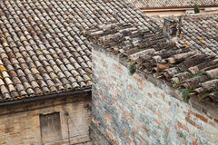 Old roofs in Fermo, Italy. Stone living houses Royalty Free Stock Photos