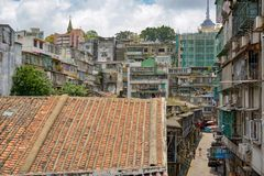 Old roofs of Macau stock photos