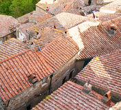 Old roofs in mediaval Sorano town Stock Images