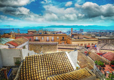 Old roofs by the sea in Cagliari Stock Image
