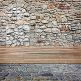 Old room with brick wall. Ready for product montage display Royalty Free Stock Photography