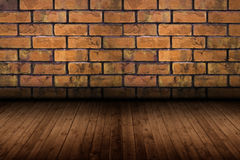 Old room with brick wall, vintage background. This old room wood and brick Stock Photos