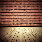 Old Room. Brick wall and wooden floor old domestic room background Stock Photography