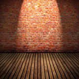 Old Room. Brick wall and wooden floor old domestic room background Stock Photo