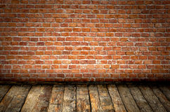 Old Room. Brick wall and wooden floor old domestic room background Royalty Free Stock Photos